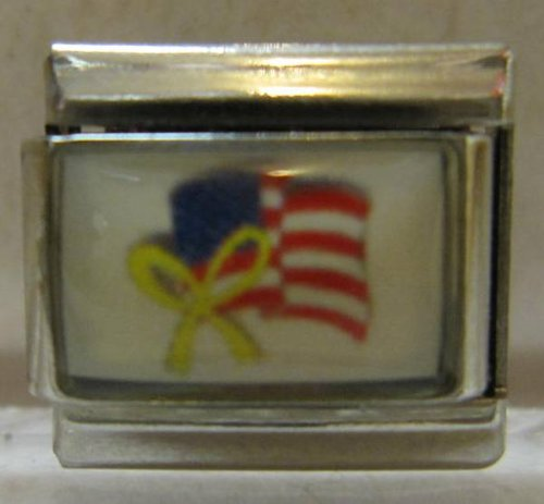 9mm Italian Charm... American Flag With Yellow Bow