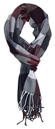Checkered Scarf (Ted and Jack - Ted's Classic Cashmere Feel Checkered or Plaid Scarf 2 (Burgundy Check))