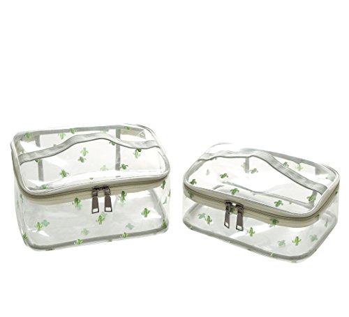 Vercord Simple Clear PVC Toiletry Bag Travel Waterproof Handle Toilet Bathroom Sponge Kit Cactus Medium Large