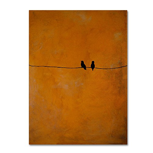 Bird Pair Yellow Artwork by Nicole Dietz, 24 by 32-Inch Canvas Wall Art (Couple Bird)