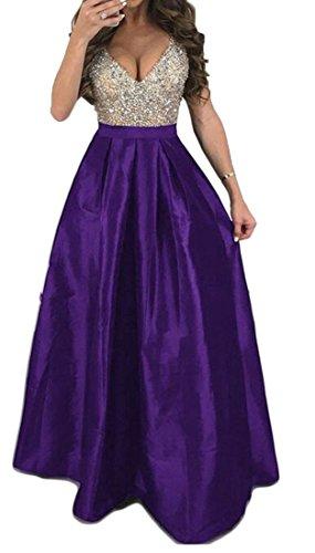 Party Sexy Purple V Swing Neck Waist Dress Women Empire Deep Cromoncent Maxi s Flared vEHARFqqT