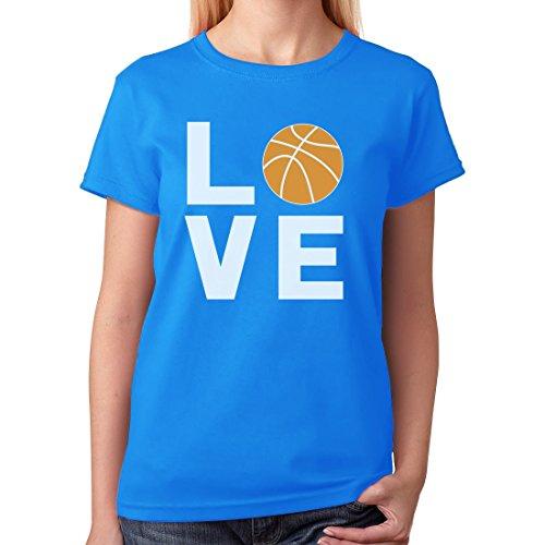 TeeStars - Love Basketball - Gift Idea for Basketball Fans Cool Women T-Shirt Large Aqua