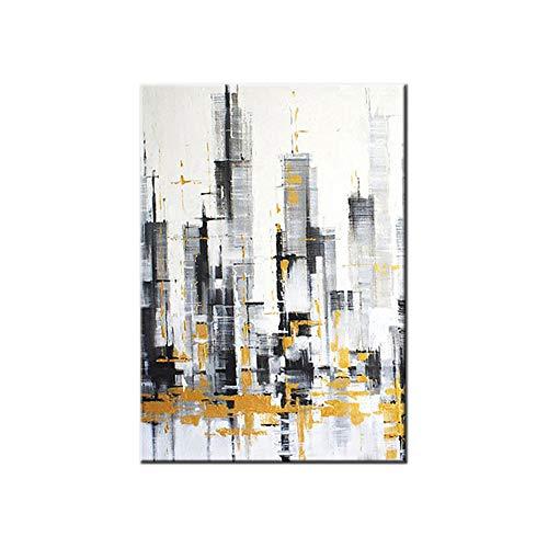 HIMAmonkey 100% Tableau Peinture Huile sur Toile Moderne Art Decoration Mural Peinture Ville Tableau Acrylique Peint À La Main avec Cadre Bois,20