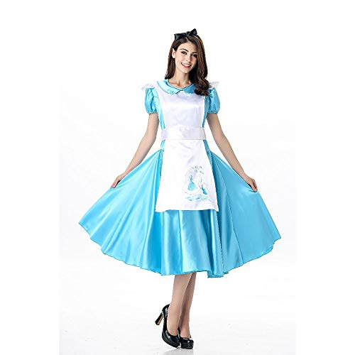 LVLUOYE Cosplay Costume, Alice in Wonderland, Halloween Blue Light Tone Lolita Maid Outfit, Bar Maid Service -