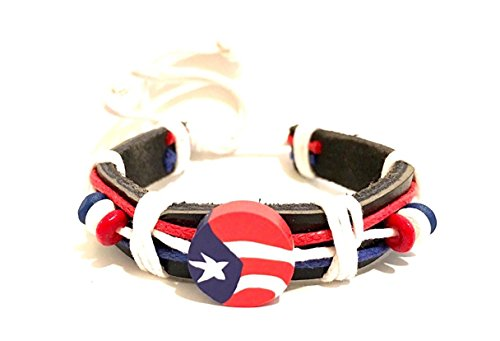 Puerto rico style leather wristband design Boricua pride wristband bracelet tie up string 1 size fits all easy to adjust