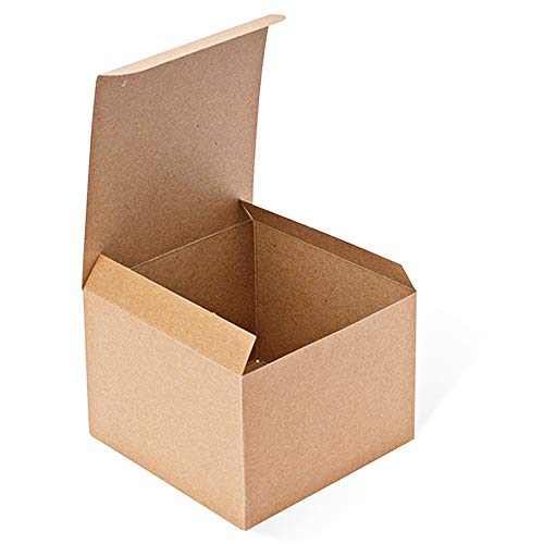 MESHA Kraft Boxes 50 Pack 5x 5 x 3.5 Inches, Brown Paper Gift Boxes with Lids for Gifts, Crafting, Cupcake Boxes -