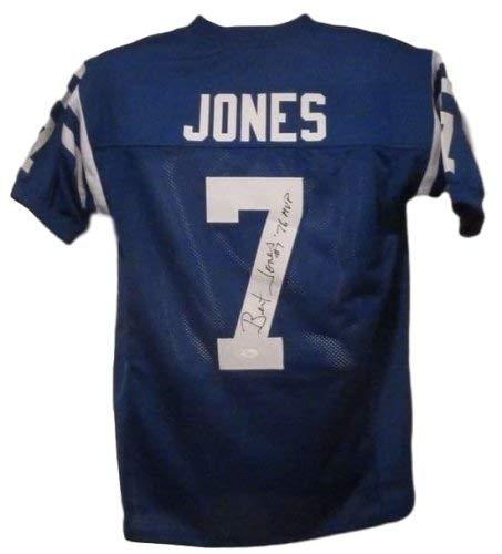 Bert Jones Autographed Signed Baltimore Colts size XL Blue Jersey - JSA Certified