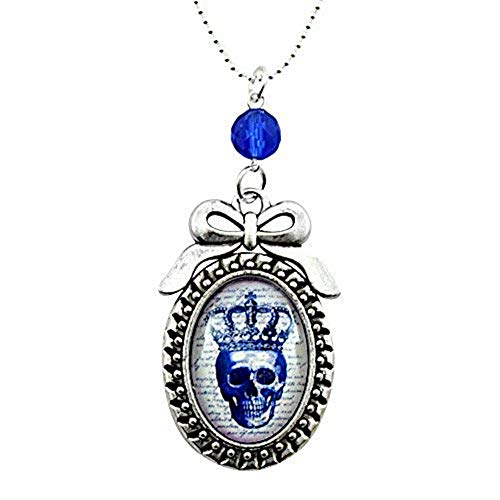 Running With Scissors Royal Skull - Bow Cameo Necklace - Silver and Royal Blue - Glass Tile ()