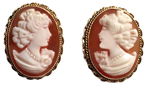 (Post Back Cameo Earrings 14k Gold Carnelian Conch Shell Master Carved,)