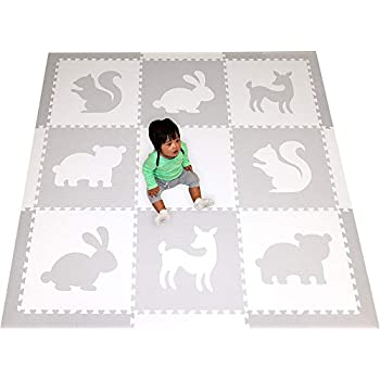 Image of Baby SoftTiles Woodland Animals Foam Playmat | Kids Floor Mats | Non-Toxic Baby Play Mat w/Sloped Edges for Playrooms and Nursery- Extra Thick 2 Foot Floor Tiles- 6.5 x 6.5 ft (White, Light Gray) SCWOOWH