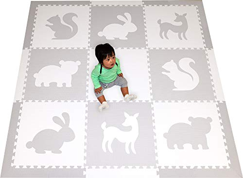 (SoftTiles Woodland Animals Foam Playmat | Kids Floor Mats | Non-Toxic Baby Play Mat w/Sloped Edges for Playrooms and Nursery- Extra Thick 2 Foot Floor Tiles- 6.5 x 6.5 ft (White, Light Gray) SCWOOWH)