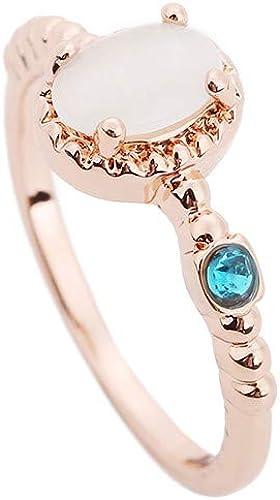 Women Girl Rose Gold Plated Copper Lovely Butterfly White Zircon Ring Size 6-10