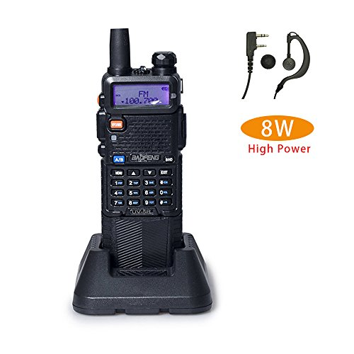 Baofeng UV-5R+ High Power 8/4/1W 3800mAh Two Way Radio Dual Band Ham Radio Transceiver(Black)