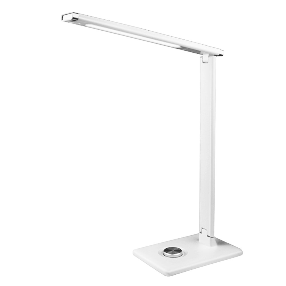 ShellKingdom Dimmable LED Desk Lamp, 3 Dimming Levels, Eye-care, Folding Desk Lamps,(White)