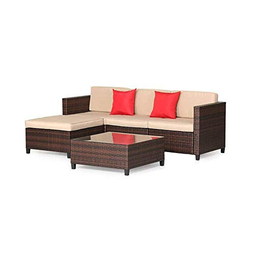 Oakmont 5 Piece Sectional Sofa Set All Weather Brown Striped Wicker Patio Furniture with Beige Zippered Cushions and Glass Top Coffee Table (Cushions On Sale Wicker)