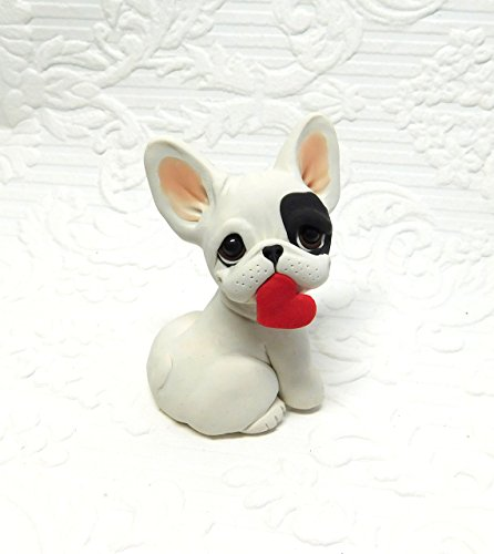 French Pied Bulldog (Pied French Bulldog Sculpture Polymer Clay Frenchie Mini by Raquel at theWRC clay DOG Collectible)