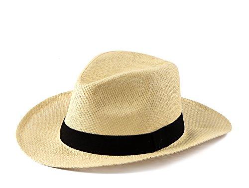 Miuno® Unisex Panamahut Herren Damen Partyhut Stroh Hut H51018 (Beige)