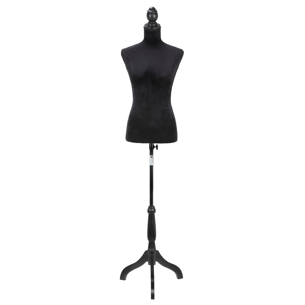 Homegear Female Lady Mannequin Torso Form with Tripod Stand for Displays/Photography Black/White / Pattern (Black)