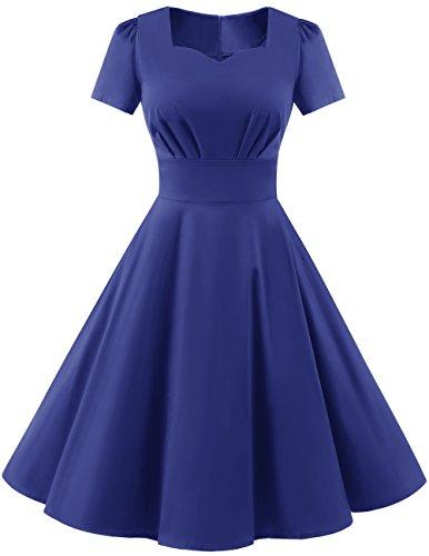 DRESSTELLS Vintage 1950s Solid Color Prom Dresses Short Sleeved Retro Audery Swing Dress RoyalBlue XS -