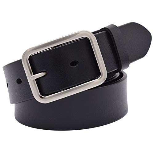Leather Belts for Men and Women, Lehosek Genuine Leather Belt with Rectangle Shape Stylish Alloy Buckle (Black, for waistline 28