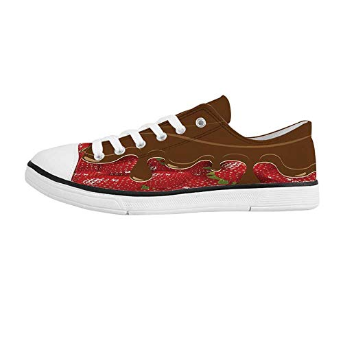 Chocolate Canvas Footwear - Kitchen Art Wall Decor Comfortable Low Top Canvas Shoes,Strawberries Melted Chocolate Confectionery Fruit Sweet Delicacies for Men Boys,US 8.5