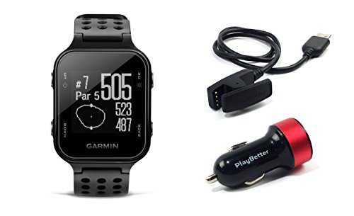 Garmin Approach S20 (Black) Golf GPS Watch with PlayBetter USB Car Charge Adapter | Activity Tracker, Smart Notifications & 40,000+ Worldwide Courses by PlayBetter