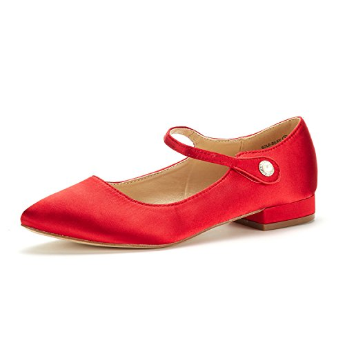 DREAM PAIRS Women's Sole_Silky RED Fashion Low Stacked Ankle Straps Flats Shoes Size 8.5 M US ()