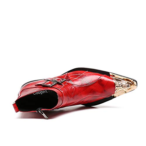 Hnleather Stivaletti UK9 Pelle Uomo EU 46 39 EU43 Red Biker Caviglia Scarpe Classico Cowboy Stivali Rosso Taglia grHgqwnA1