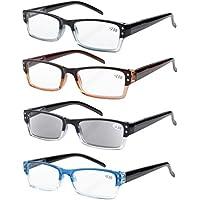 Eyekepper 4-pack Gafas sol de lectura rectangular con bisagras de resorte +4.00