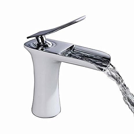 Sumerain S1111CW Double Handle Wall Mount Waterfall Bathroom Sink ...