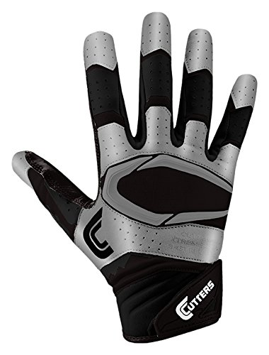 Cutters Glove Receiver Football (Cutters S451 Rev Pro 2.0 Receiver, Safety, Cornerback Football Gloves with Ultra Sticky C-Tack Grip Adult and Youth, Adult L, BLACK/METSILVER)