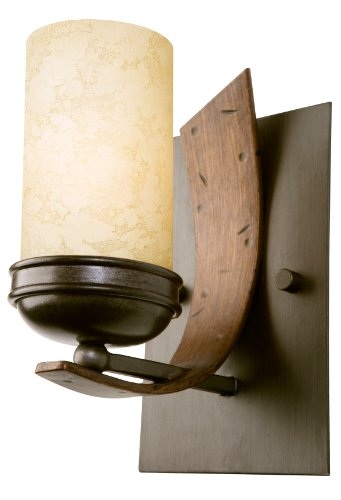 Varaluz 112B01B Aizen 1-Light Vanity - Hammered Ore with Aspen Bronze Accents Finish with Tea Stained Creamy Recycled Glass (Aizen 1 Light)