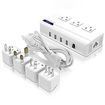 Voltage Converter 220v To 110v With 4 Usb Ports [5v2.1a Each] Thzy International Travel Adapter With 3 Ac Outlets & Ukauuseuitaly Worldwide Plug Adapter–(use For Us Appliances Overseas) 0