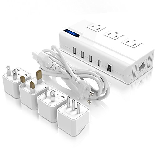 Voltage Converter 220V to 110V With 4 USB Ports [5V/2.1A Each] THZY International Travel Adapter with 3 AC Outlets and UK/AU/US/EU/Italy Worldwide Plug Adapter–(Use for US Appliances Overseas) (Volt 110 Converter 220)