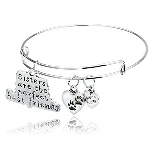 [Friendship Sisters are the Perfect Best Friends Adjustable Bangle Bracelet Cuff Gfit] (Best Mother And Son Costumes)
