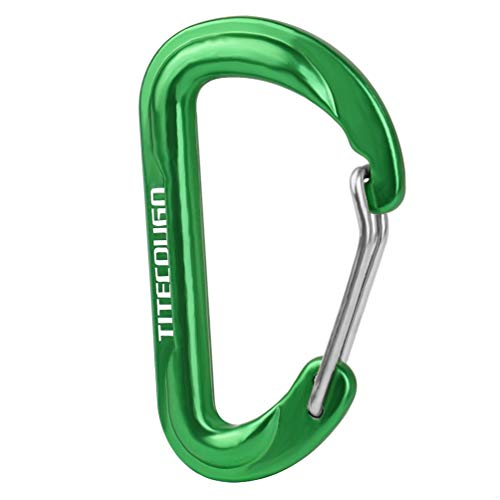 TITECOUGO 6cm D Shape Carabiner Clip Hook D-Ring Key Chain Nonlocking Durable Keychain Mini Carabiners 60mm Small dd Keyring Chains Ring Climbing Lighter Outdoor for Men and Women Green 2 ()