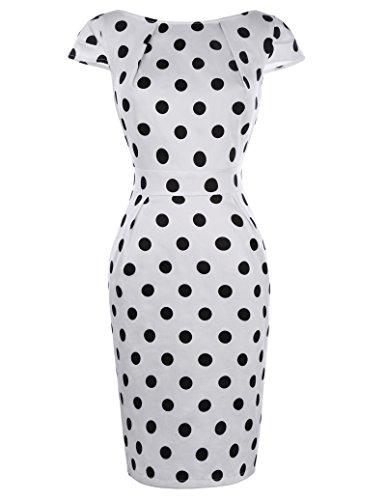 Beaux Dot (Belle Poque Summer 50's Vintage Formal Pencil Dress for Women Knee Length Size M BP305-1)