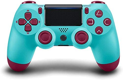 PS4 Controller Wireless Bluetooth Gamepad, [Upgraded Version] Touch Panel Gamepad USB Cable with Dual Vibration and Audio Function Anti-Slip Grip for Sony Playstation 4/Pro/Slim/PC (Berry Blue)