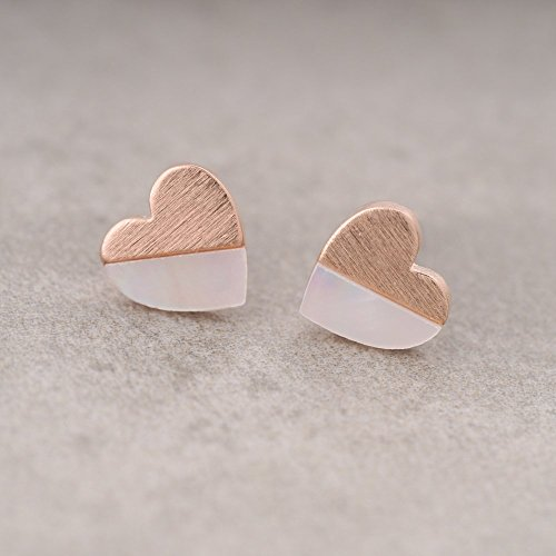 Tiny Rose Gold Heart Stud Earrings with Mother of Pearl_Sterling Silver 925