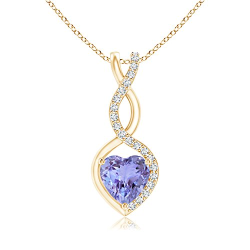 - Floating Tanzanite Infinity Heart Pendant for Women with Diamond Accents in 14K Yellow Gold (5mm Tanzanite)