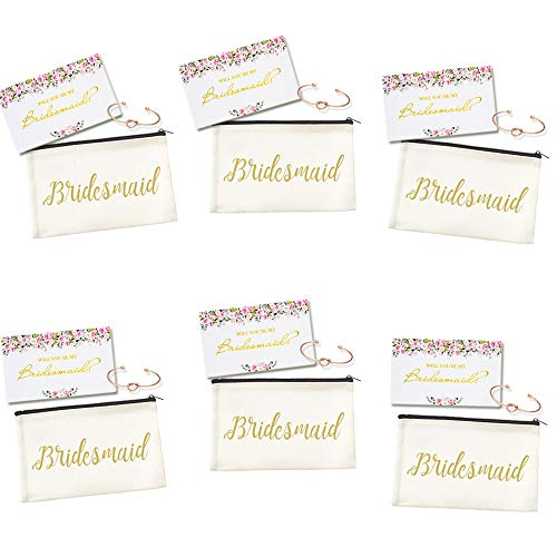 (Ibride Bridesmaid Canvas Cosmetic Pouches for Wedding Favors Rose Bracelets Fcard Set of 6)