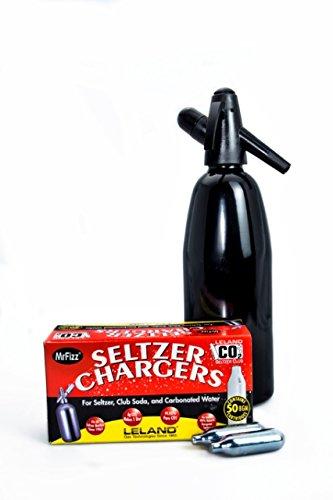 Leland Mr. Fizz 1 Liter Aluminum Seltzer Bottle Black Plus Bonus 50 Pack Mr. Fizz 8g CO2 Chargers