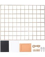 Rosé Gold wandroosterrek, rasterwand, fotowand, fotowand, decoratie, fotopapier, memoboard ophangen, wandbehang, metalen rooster, wanddecoratie board in de familie, keuken, kantoor enz. 65 x 45 cm