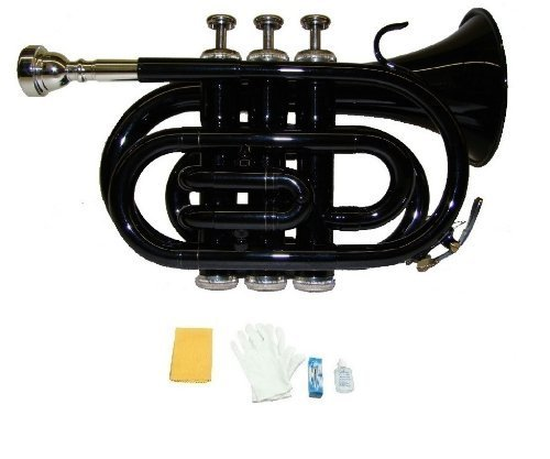 Merano B Flat Black Pocket Trumpet with Case+Mouth Piece;Valve oil;A Pair Of Gloves;Soft Cleaning Cloth by Merano