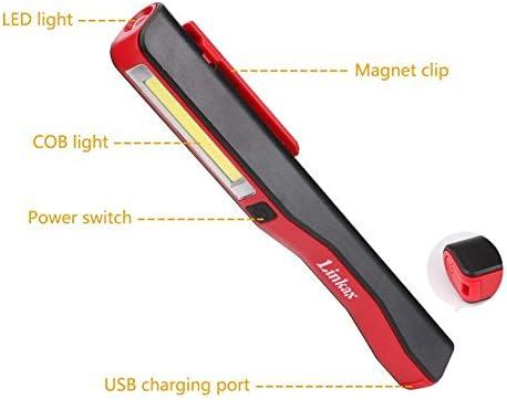 Linkax LED Arbeitsleuchte Wiederaufladbares Inspektionsleuchten Werkstattlampe Superhelle Tragbare Taschenlampe Akku Magnet f/ür Auto Reparatur und Notfall Ultrad/ünn