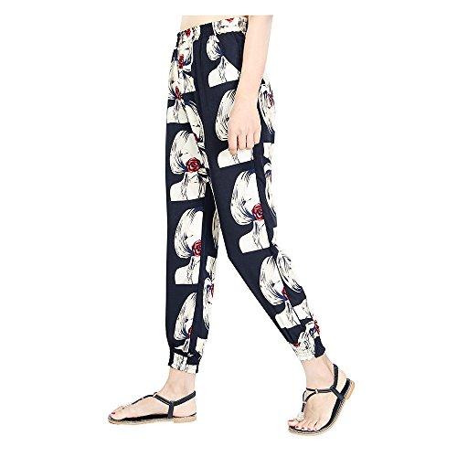 7 Avec Couleur Hibote 8 Plage Sarouel Eté Taille Femme 4 Imprimé Pantalon Casual Floral Longueur Haute pvqHYW6