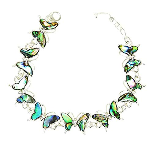 Beautiful Natural Abalone Paua Shell Butterfly Silver Colour Bracelet In Gift Box - A