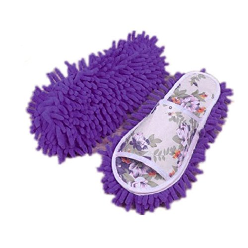Price comparison product image Fengzhicai Dust Floor Mop Slippers Microfiber House Clean Slippers Shoes Covers - Purple