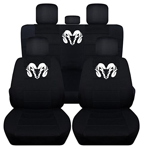 Fits 2012 to 2017 Dodge Ram Front and Rear Ram Seat Covers 22 Color Options (40-60 Rear, Black) by Designcovers