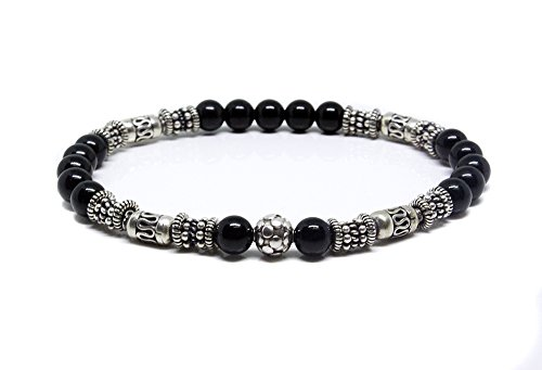 Black Onyx and Sterling Silver Bracelet, Bali Beads Bracelet, Men's Onyx Bracelet